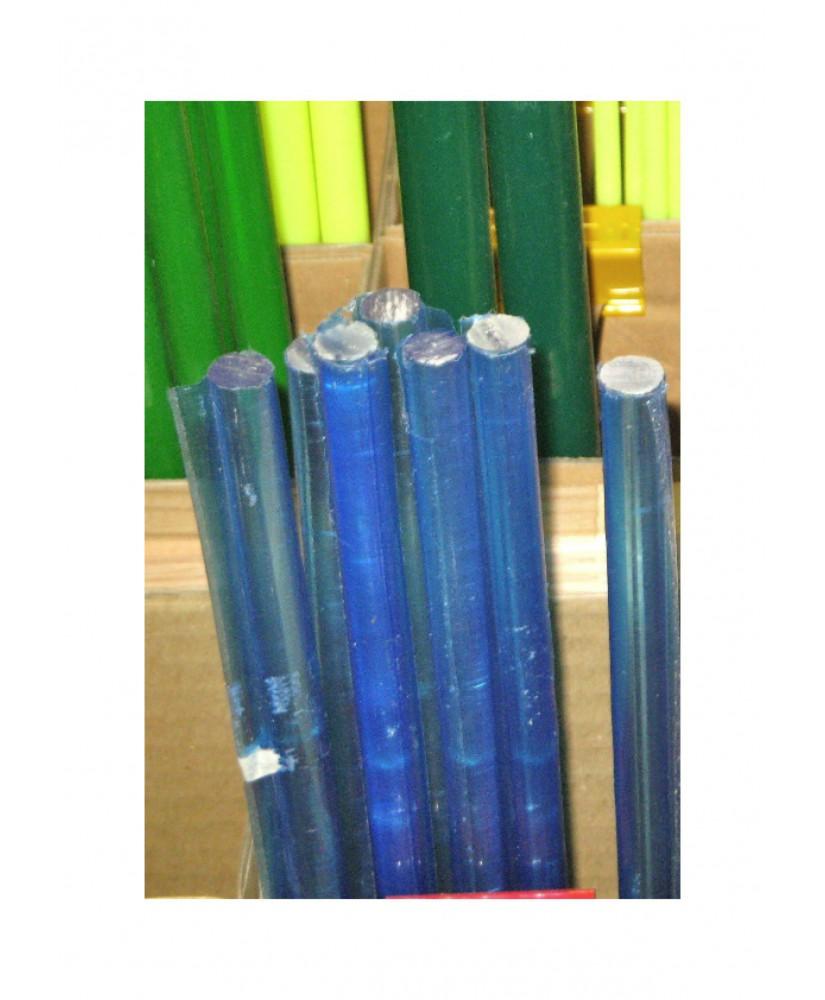 barre en acrylate XT bleu fluorescent transparent de section ronde - 6,00mm - 1000mm ( 104 138 )