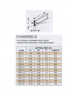 profilé en ABS gris foncé PSC-06 de section en C - 1,60 x 4,80 x 380,00mm ( 403018 )