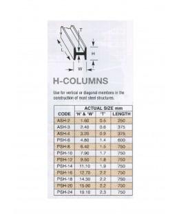 profilé en ABS gris foncé PSH-06 de section en H - 4,80 x 4,80 x 610,00mm ( 403051 )