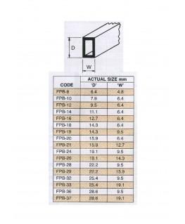 tube en ABS gris clair FPB-08 de section rectangulaire - 4,80 x 6,40 x 760,00mm ( 403241 )