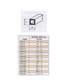 tube en ABS gris clair FPH-08 de section carrée - 6,40 x 6,40 x 760,00mm ( 403260 )