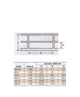 rambarde droite en ABS gris foncé HR-08 - 19,80mm - 610,00mm - échelle : 1/50 ( 403365 )