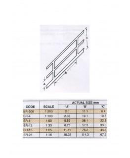 rampe en ABS gris foncé SR-08 - 19,10mm - 610,00mm - échelle : 1/50 ( 403581 )