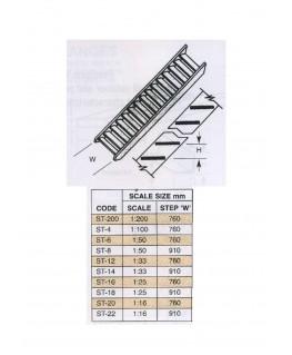 escalier à claire-vois en ABS gris foncé ST-08 - 19,05mm - échelle : 1/50 ( 403596 )