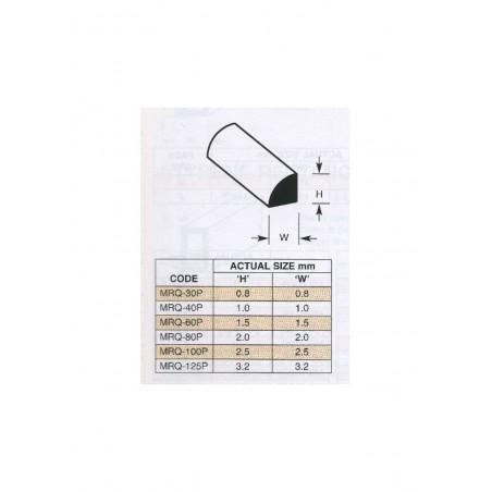 10 profilés en polystyrène blanc (MRQ-040P) de section quart de rond - 0,50 x 250mm ( 501118 )