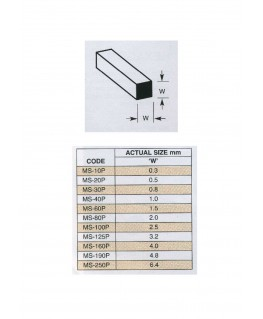10 profilés en polystyrène blanc (MS-040P) de section - 1,00 x 1,00 x 250mm ( 501126 )
