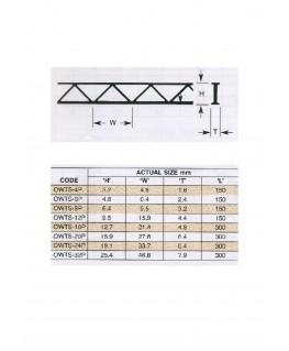 poutres bidimensionnelles en  polystyrène blanc (OWTS-06P) - 4,80/6,35 x 150mm - 2 pièces ( 501190 )