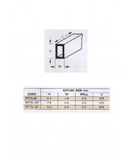 1 tube en polystyrène blanc (RTFS-08P) de section rectangulaire - 4,80 x 6,40 x 375mm ( 501504 )