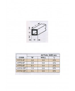 tube en polystyrène blanc (STFS-04P) de section carrée - 3,20 x 3,20 x 375mm ( 501508 )