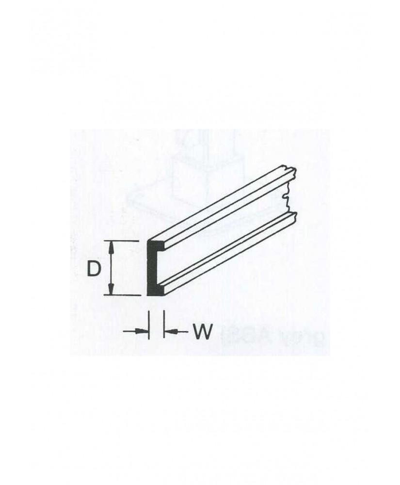 profilé en ABS gris foncé (C-04P) de section en C - 3,20 x 1,25 x 380mm ( 501045 )