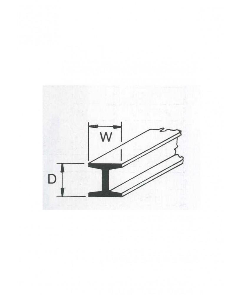 profilé en ABS gris foncé (H-02P) de section en H - 1,60 x 1,60 x 254mm ( 501062 )