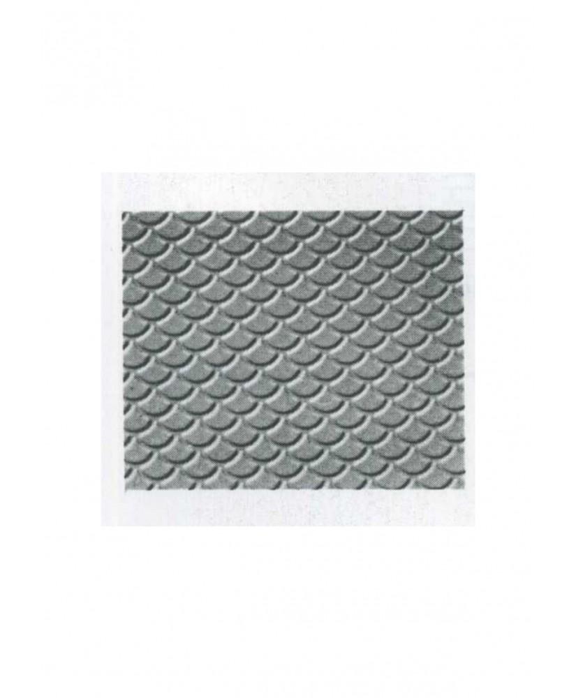 pan de toiture en tuiles plates arrondies en polystyrène gaufré rouge - 0,50 x 175 x 300mm - échelle : 1/100 ( 602017 )