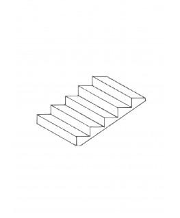 volée d'escalier de 8 marches à 34° en polystyrène blanc moulé - 54 x 100mm - échelle : 1/50 ( 604004 )