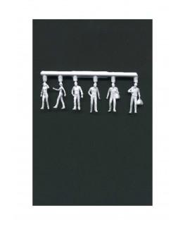 2 femmes & 4 hommes marchant en polystyrène blanc moulé - échelle : 1/100 ( 608011 )