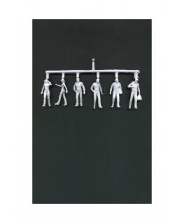 2 femmes & 4 hommes marchant en polystyrène blanc moulé - échelle : 1/50 ( 608014 )