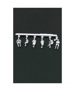 3 femmes & 3 hommes assis en polystyrène blanc moulé - échelle : 1/100 ( 608029 )