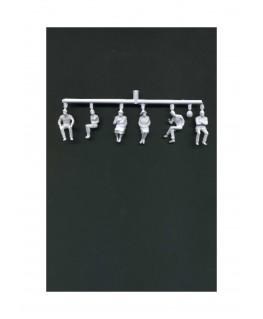 3 femmes & 3 hommes assis en polystyrène blanc moulé - échelle : 1/50 ( 608030 )