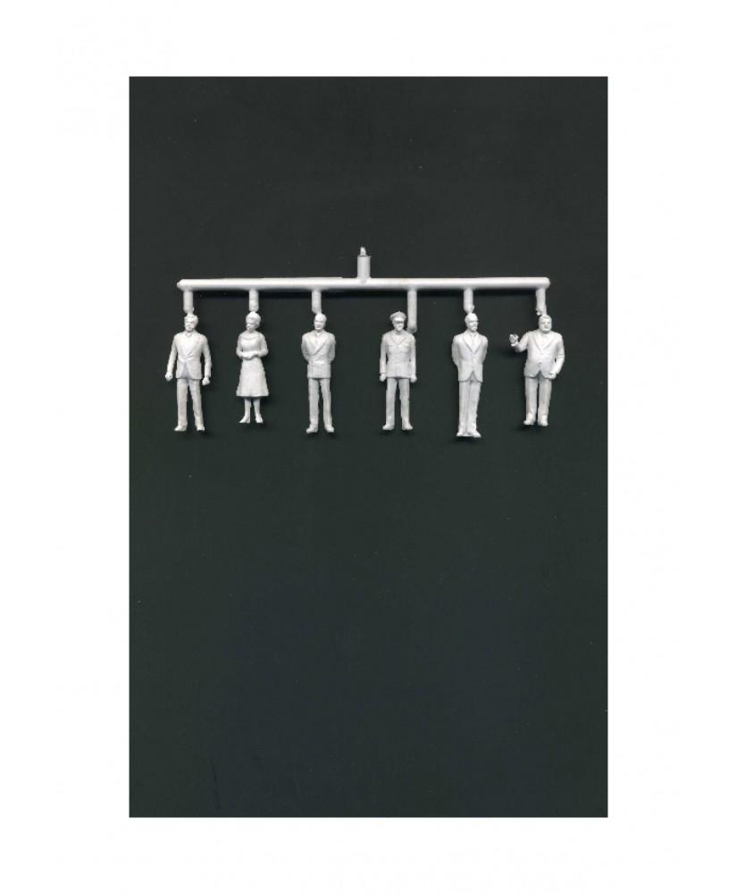 1 femme et 5 hommes en tenue de ville en polystyrène blanc moulé - échelle : 1/50 ( 608119 )