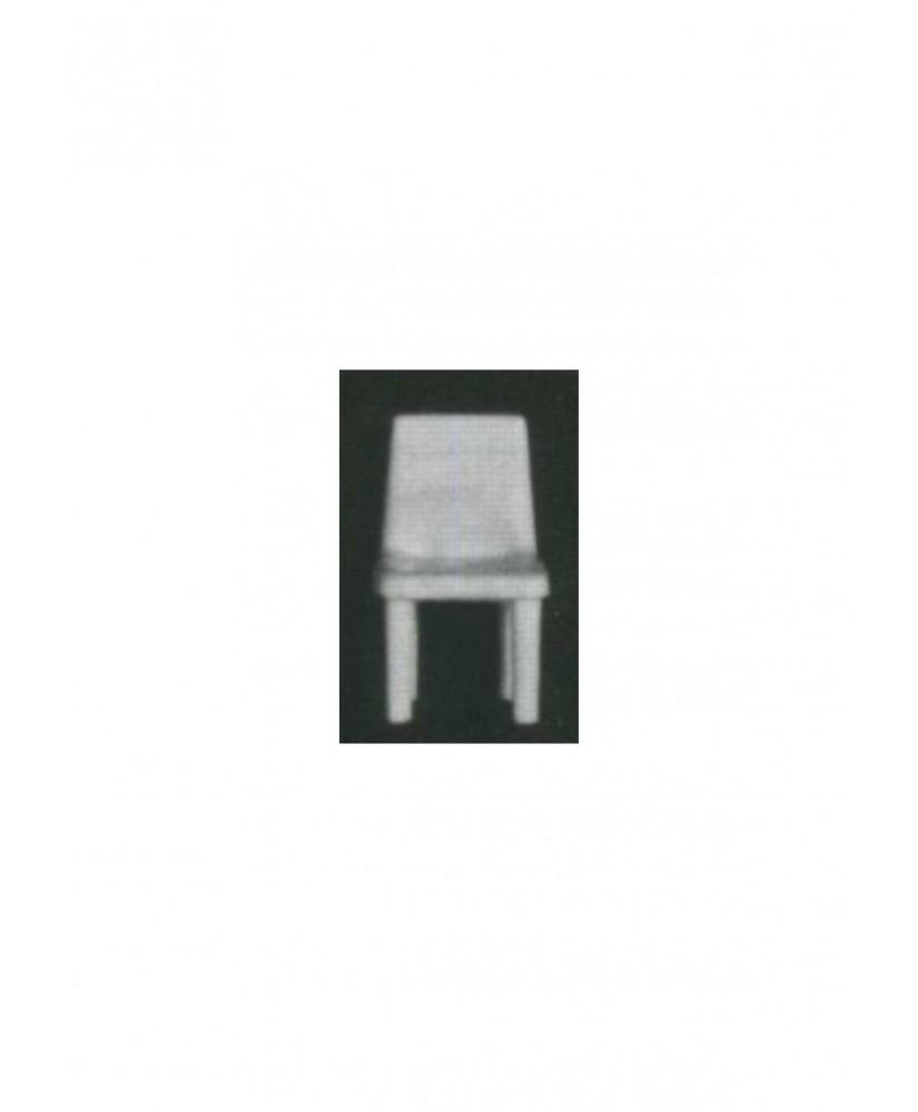 5 chaises sur 4 pieds avec dossier plein en polystyrène blanc moulé - échelle : 1/100 ( 605001 )