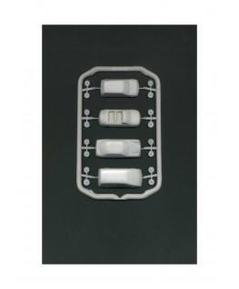 4 voitures en polystyrène blanc moulé - échelle : 1/100 ( 607230 )