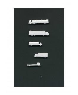 5 camions & semi-remorques en polystyrène blanc moulé - échelle : 1/500 ( 607008 )