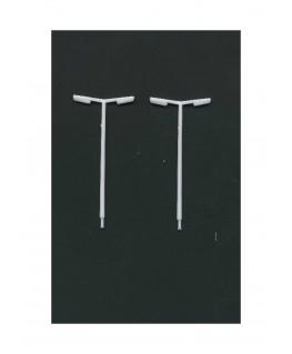 2 lampadaires d'autoroute à 2 bras en polystyrène blanc moulé - échelle : 1/200 ( 607223 )