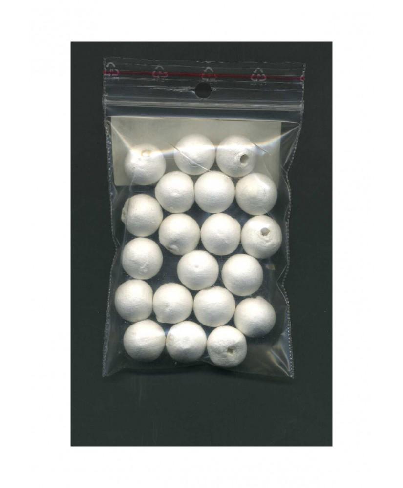 20 sphères en coton blanc - 12,00mm ( 606006 )