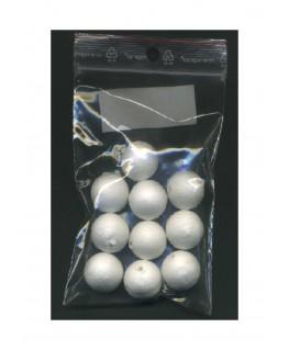 10 sphères en coton blanc - 20,00mm ( 606008 )
