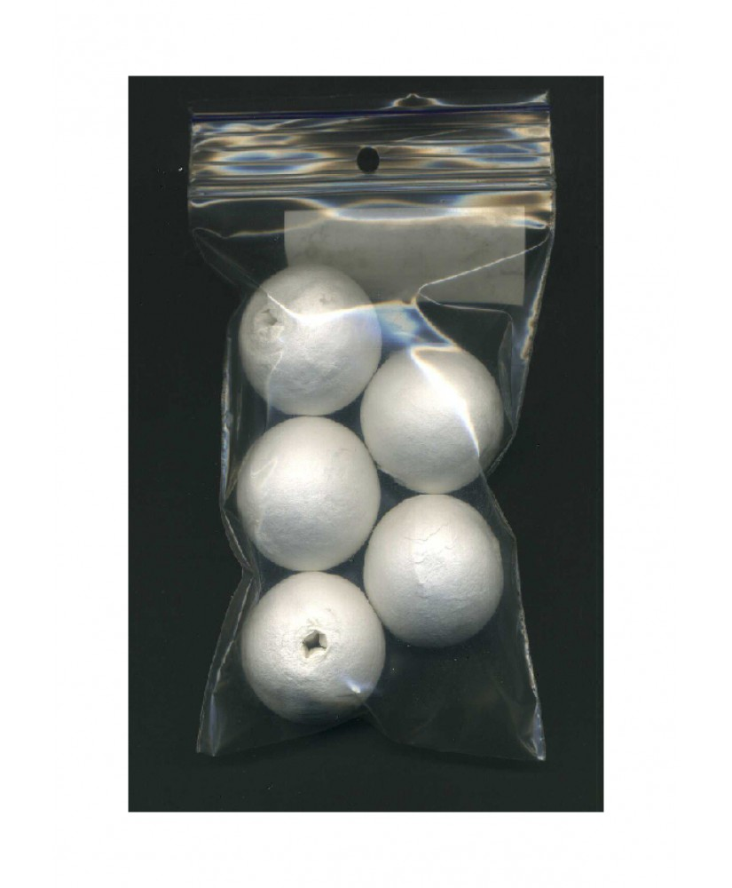 5 sphères en coton blanc - 30,00mm ( 606010 )