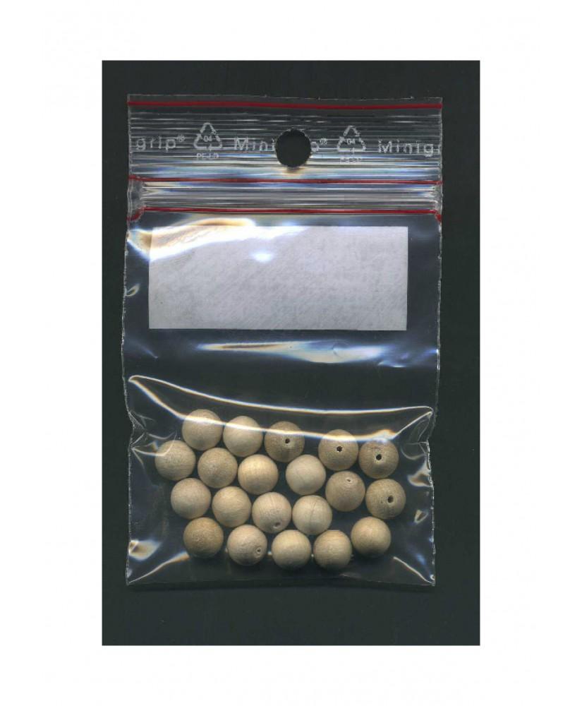 20 sphères en hêtre naturel avec demi perforation - 8,00mm ( 606014 )