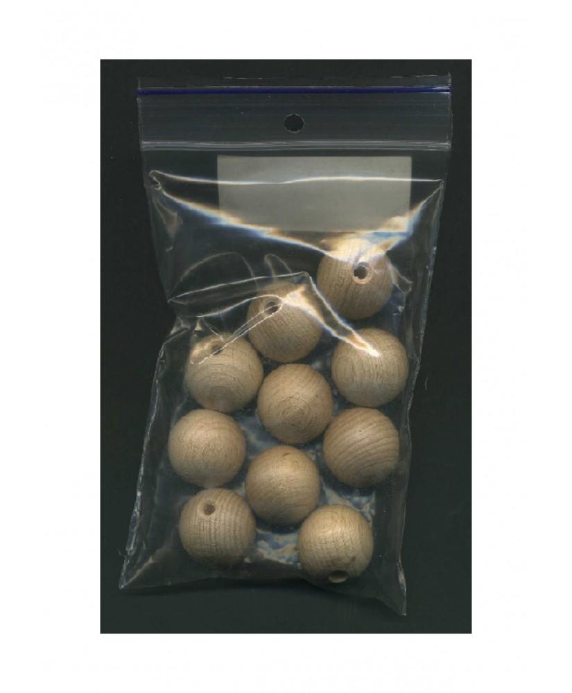 10 sphères en hêtre naturel avec demi perforation - 20,00mm ( 606017 )