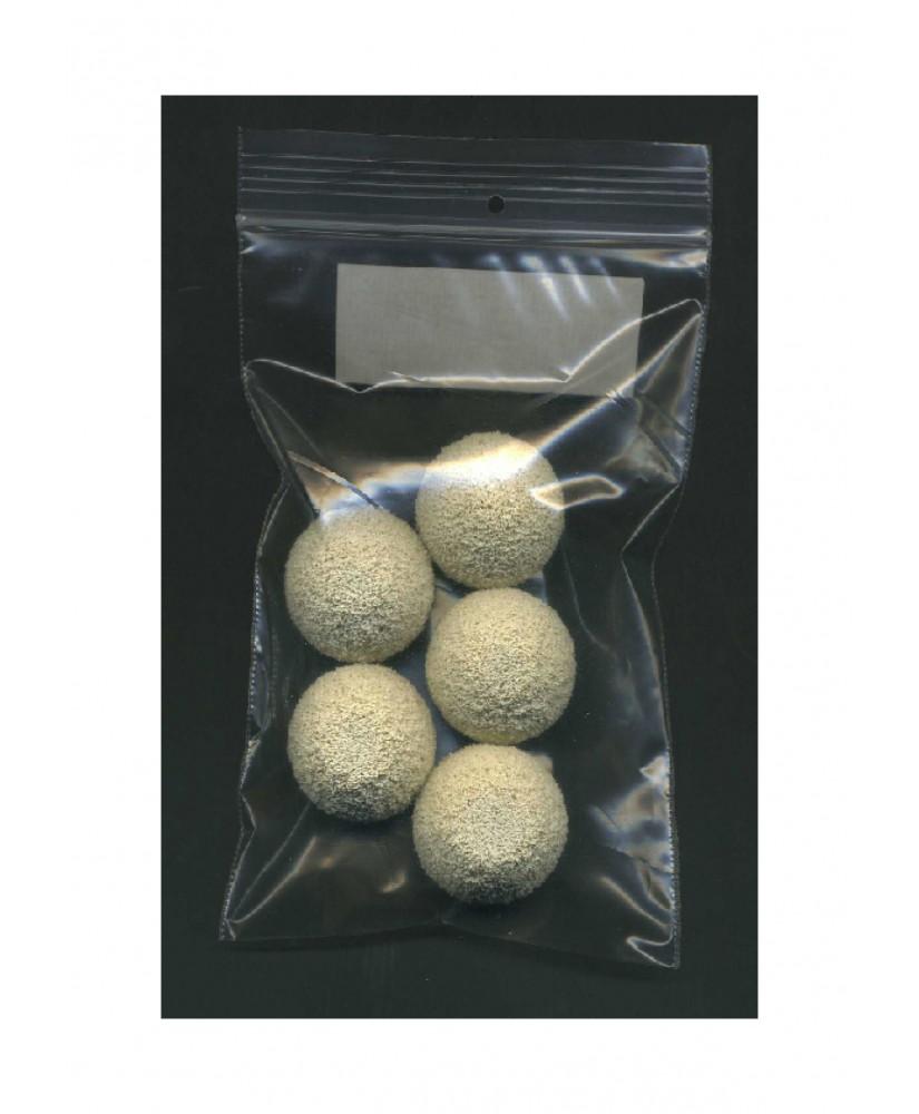 5 sphères en caoutchouc mousse blanc structuré  - 25,00mm ( 606024 )