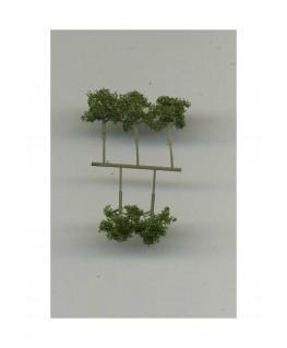 5 arbres feuillus en métal photodécoupé et floqué vert foncé - 10,00mm ( 606760 )