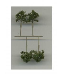 4 arbres feuillus en métal photodécoupé et floqué vert foncé - 16,00mm ( 606761 )