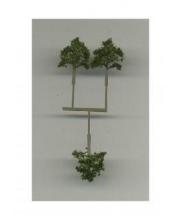 3 arbres feuillus en métal photodécoupé et floqué vert foncé - 20,00mm ( 606762 )