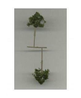 2 arbres feuillus en métal photodécoupé et floqué vert foncé - 25,00mm ( 606763 )