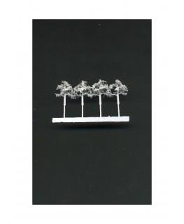 4 arbres feuillus en métal photodécoupé et floqué blanc - 16,00mm ( 606774 )