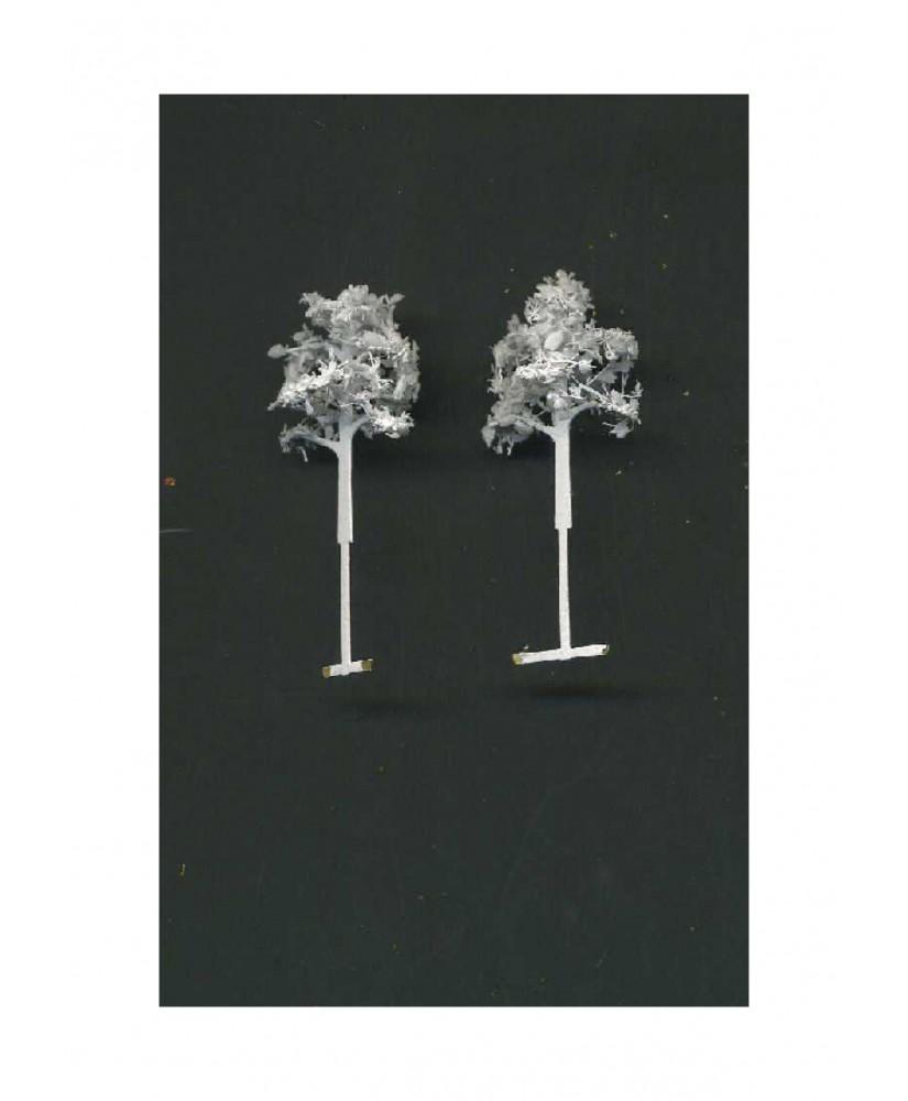 2 arbres feuillus en métal photodécoupé et floqué blanc - 25,00mm ( 606776 )