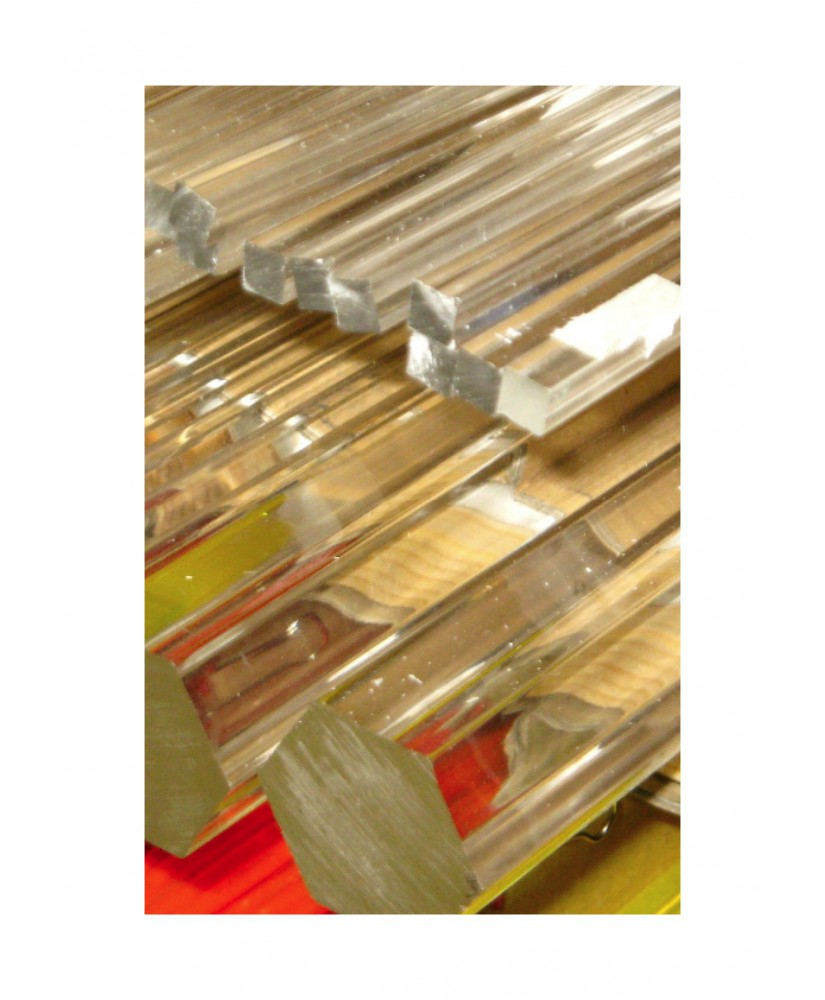 barre en acrylate XT incolore transparent de section carrée - 8,00mm - 1000mm ( 104 066 )